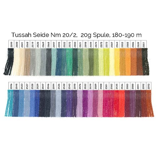 Tussah Seide Nm 20/2, Farbkarte, Garn zum Klöppeln, Stricken, Häkeln in der Klöppelwerkstatt erhältlich