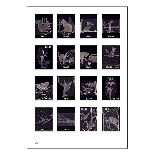 Tiere in Tüll ~ Ulrike Voelcker in der Klöppelwerkstatt erhältlich, 16 Muster in Tüllspitze, diver se Tiermotive in Zusammenarbeit mit Rolf D Fay