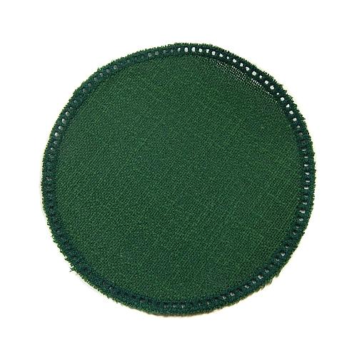 Anhäkelform/Lochranddeckchen Kreis d=12cm dunkel-drün, Klöppelwerkstatt, klöppeln, häkeln