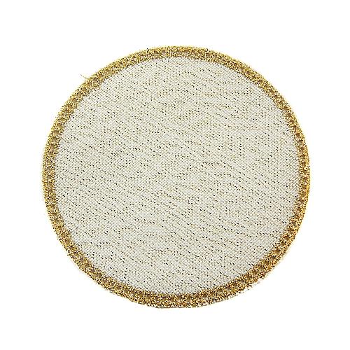 Anhäkelform/Lochranddeckchen Kreis d=12cm gold-lurex, Klöppelwerkstatt, klöppeln, häkeln
