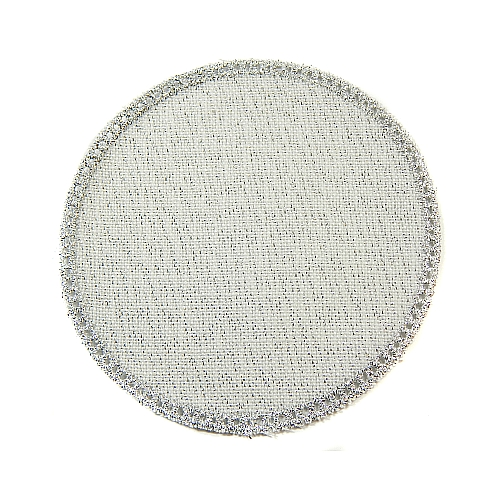 Anhäkelform/Lochranddeckchen Kreis d=12cm silber-lurex, Klöppelwerkstatt, klöppeln, häkeln