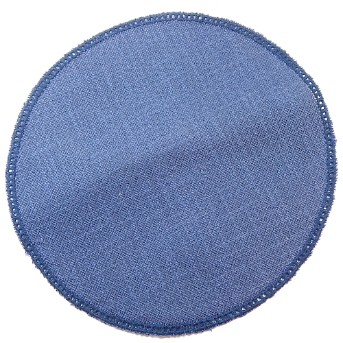 Anhäkelform/Lochranddeckchen Kreis d=20cm dunkel-blau, in der Klöppelwerkstatt