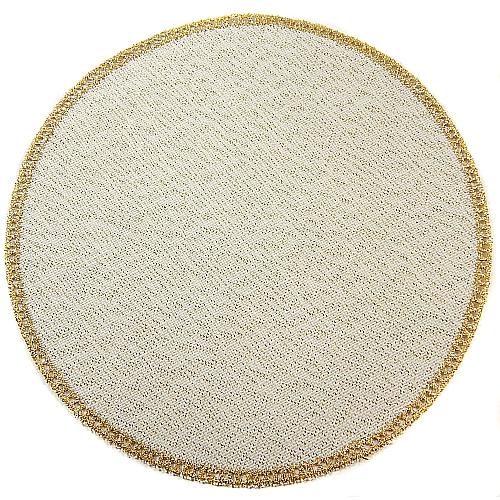 Anhäkelform/Lochranddeckchen Kreis d=20cm gold-lurex, in der Klöppelwerkstatt