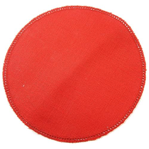 Anhäkelform/Lochranddeckchen Kreis d=20cm rot, in der Klöppelwerkstatt