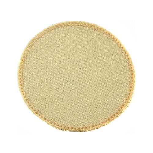 Anhäkelform/Lochranddeckchen Kreis d=12cm hellgelb, Klöppelwerkstatt, klöppeln, häkeln