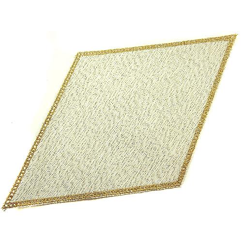 Anhäkelform Rhombus 18 cm x 32 cm, lochranddeckchen in gold-lurex, von der Fa. Zweigart, zum Häkeln, Klöppeln in der Klöppelwerkstatt
