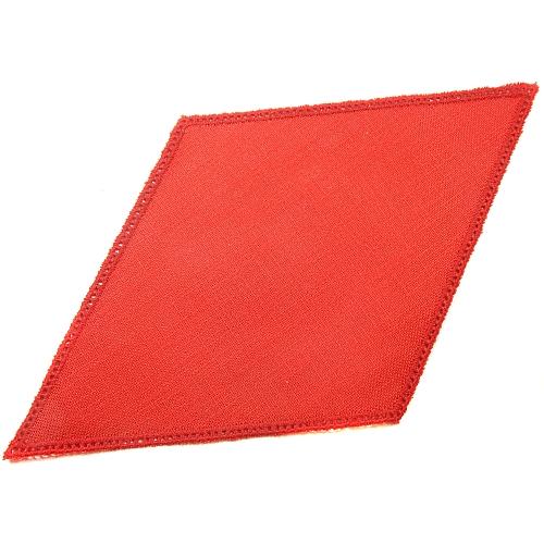 Anhäkelform Rhombus 18 cm x 32 cm, lochranddeckchen in rot, von der Fa. Zweigart, zum Häkeln, Klöppeln in der Klöppelwerkstatt