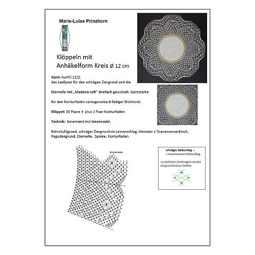 Klöppelbrief Anhäkelform Kreis d=12cm ~ Marie-Luise Prinzhorn, in der Klöppelwerkstatt erhältlich.
