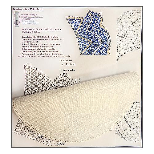 Set ~ Klöppelbrief und Anhäkelform Kreis d=25cm in der Klöppelwerkstatt erhältlich