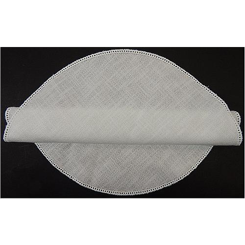 Anhäkelform Kreis d=37cm in weiß, in der Klöppelwerkstatt