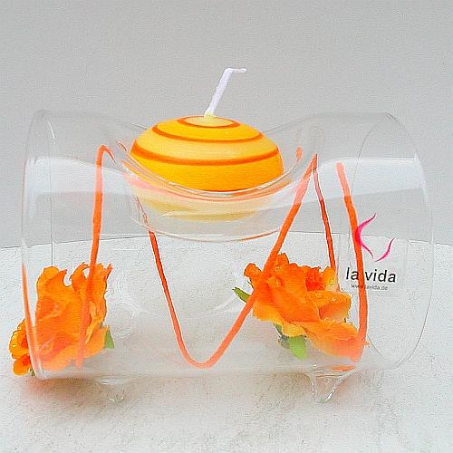 Glasleuchter Surprise 10 cm oder 20 cm Länge, Röhre für ein Teelicht von La Vida, in der Klöppelwerkstatt, Klöppelbriefe erhältlich