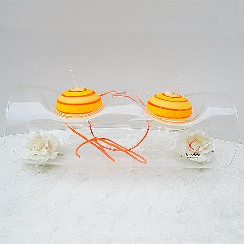 Glasleuchter Surprise 10 cm oder 20 cm Länge, Röhre für zwei Teelichter von La Vida, in der Klöppelwerkstatt, Klöppelbriefe erhältlich