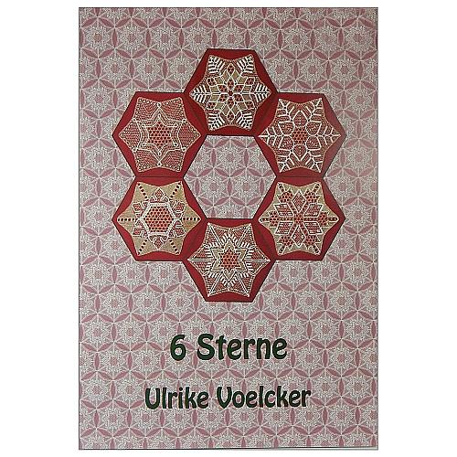 Klöppelbrief 6 Sterne ~ Ulrike Voelcker - Klöppelwerkstatt, Klöppelbrief mit 6 Sternen, wahlweise in Torchon oder Tüll, mit technischer Zeichnung