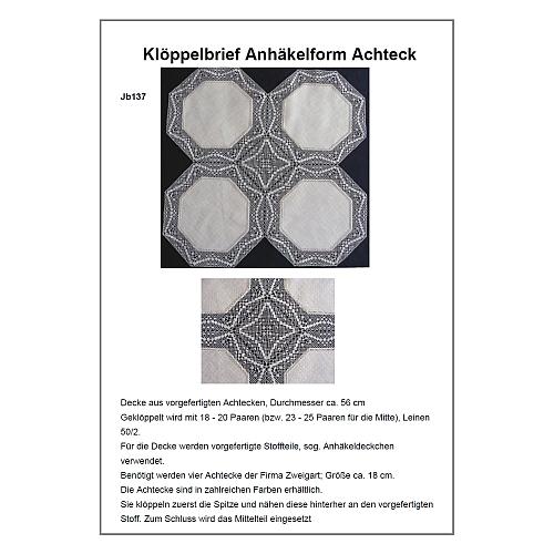 Klöppelbrief Anhäkelform Achteck JB137 - Inge Theuerkauf, in der Klöppelwerkstatt