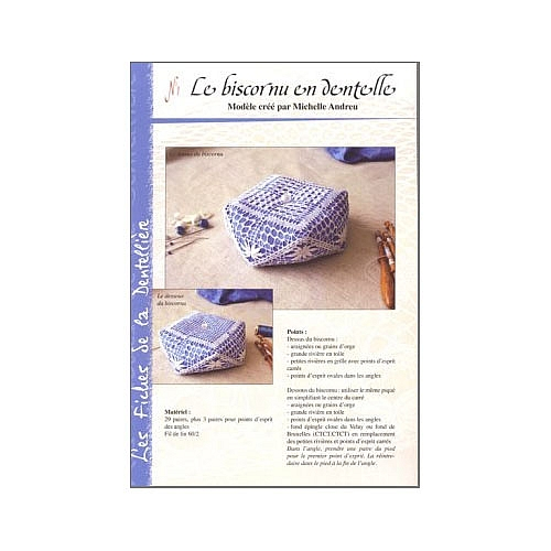Le biscornu en dentelle n°1, Les fiches de la dentellière ~ Michelle Andreu, Nadelkissen mit Anleitung in der Klöppelwerkstatt