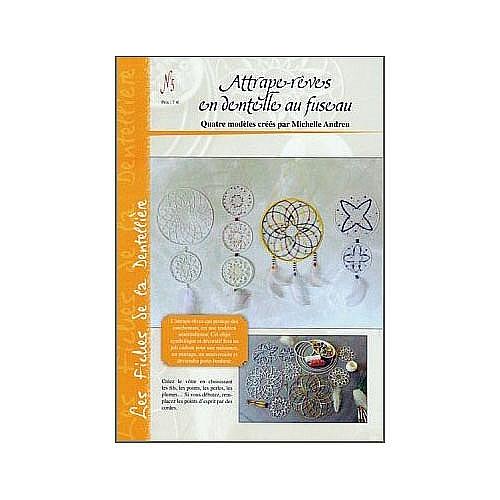 Attrape-rêves en dentelle au fuseau Nr. 5, Le biscornu en dentelle ~ Michelle Andreu , Klöppelbrief und Anleitung für 4 Traumfänger, Klöppelwerkstatt, Klöppeln