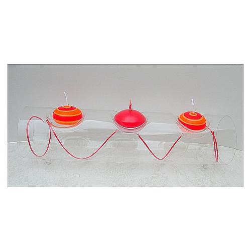 Glasleuchter Surprise 30 cm oder 40 cm Länge, Röhre für 3 oder vier Teelichter von La Vida, in der Klöppelwerkstatt, Klöppelbriefe erhältlich