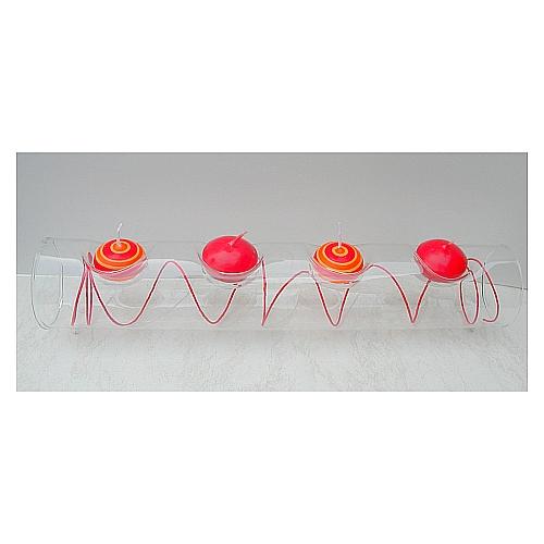 Glasleuchter Surprise 30 cm oder 40 cm Länge, Röhre für ein oder zwei Teelichter von La Vida, in der Klöppelwerkstatt, Klöppelbriefe erhältlich
