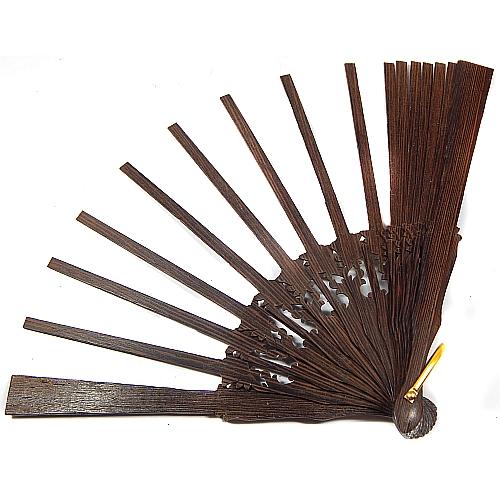 Fächer Modell Saragossa & Brief Torchonspitze 1, in der Klöppelwerkstatt erhältlich, Fächergestell Wengue