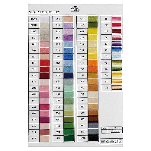 DMC Spezial Dentelle 80 - Farbkarte mit 72 Garnproben alle Farben sind in der Farbkarte als Garnprobe enthalten, in der Klöppelwerkstatt erhältlich, Baumwollgarn, in der Klöppelwerkstatt, Baumwollgarn, zum Häkeln, Klöppeln, Stricken, für Occhi, Frivolite