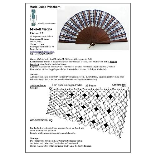 Fächer Modell Girona & Brief Torchonspitze 12, in der Klöppelwerkstatt erhältlich, Klöppelbrief von Marie Luise Prinzhorn