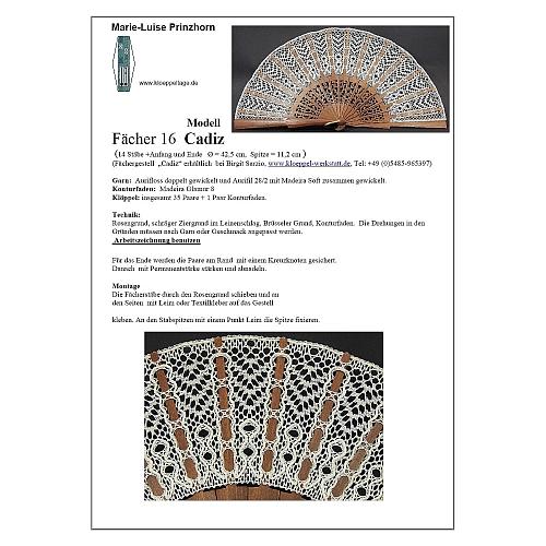 Fächer Modell Cadiz & Brief Torchonspitze Nr. 16 von Marie Luise Prinzhorn entworfen, in der Klöppelwerkstatt erhältlich, Klöppelbrief