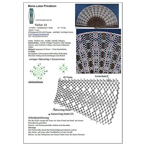 Fächer Modell Saragossa & Brief Torchonspitze 1, in der Klöppelwerkstatt erhältlich, Klöppelbrief von Marie Luise Prinzhorn