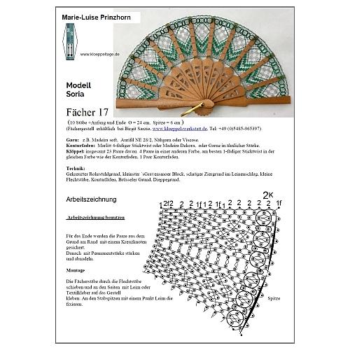 Fächer Modell Soria & Brief Torchonspitze 17, in der Klöppelwerkstatt erhältlich, Klöppelbrief