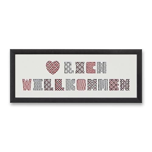 Passepartout & Rahmen ~ HERZLICH WILLKOMMEN, eine schöne Möglichkeit um Spitze attraktiv zu zeigen, in der Klöppelwerkstatt, Häkeln, Klöppeln, Sticken, Fotos, Bild mit Spitze