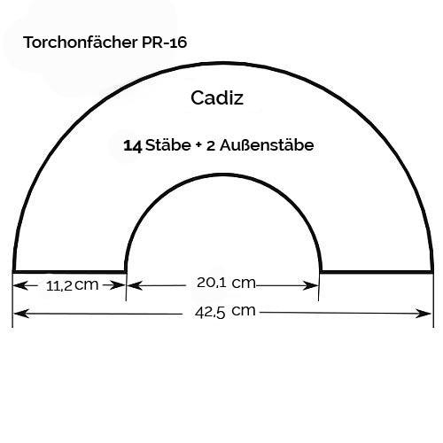 Fächer Modell Cadiz & Brief Torchonspitze Nr. 16 von Marie Luise Prinzhorn entworfen, Zeichnung mit Maße