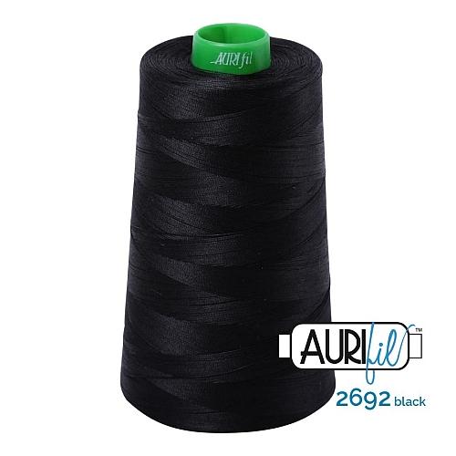 AURIFIL Baumwollgarn - 140 g Spule - Klöppelwerkstatt in 270 Farben erhältlich, hervorragend zum klöppeln, sticken, quilten, stricken, patchwork, nähen, häkeln, Stärke 40wt Farbe 2692 black