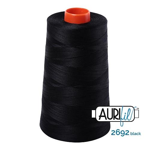 AURIFIL Baumwollgarn - 140 g Spule - Klöppelwerkstatt in 270 Farben erhältlich, hervorragend zum klöppeln, sticken, quilten, stricken, patchwork, nähen, häkeln, Stärke 50wt Farbe 2692 black