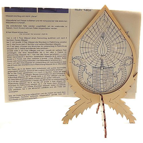 Klöppelrahmen Winter incl. Klöppelbrief mit 2 Motive, Holzrahmen zum Aufstellen mit kleinen Löchern im Rahmen zum befestigen der Spitze, in der Klöppelwerkstatt erhältlich