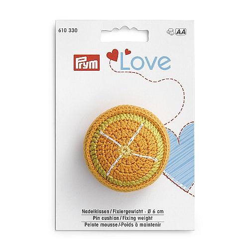 Nadelkissen-Prym Love-Fixiergewicht Orange, Kiwi oder Melone Doppelter Nutzen: Nadelkissen & Fixiergewicht, in der Klöppelwerkstatt, zum Nähen, Patchwork, quilten,