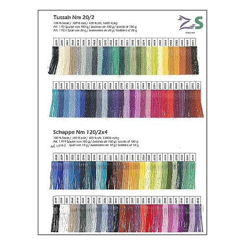 Tussah - Schappe Seide - Farbkarte mit jeweils 53 Garnproben von dem Seidengarn ist in der Klöppelwerkstatt erhältlich. Das Seidengarn wird zum klöppeln, häkeln, stricken, weben und für Kumihimo verwendet.