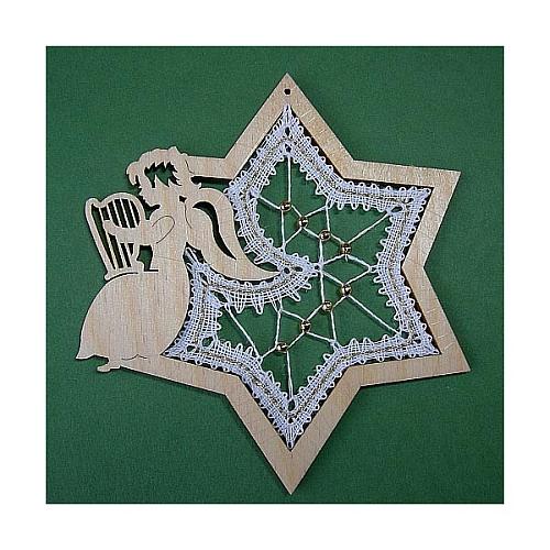 Anhänger Engel im Stern, Set, Inhalt: Holzrahmen Engel Stern, Klöppelbrief Perlen, Weihnachten Klöppeln in der Klöppelwerkstatt