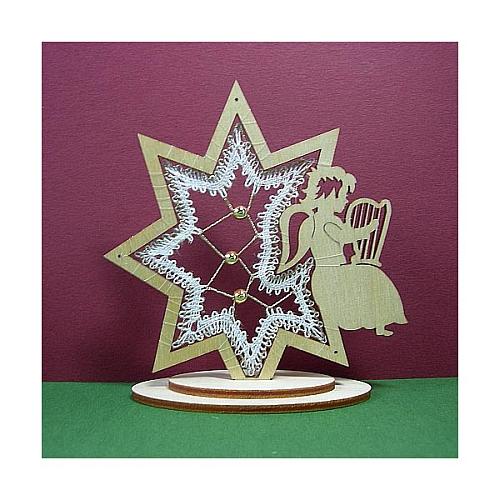 Aufsteller Engel im Stern, Set, Inhalt: Holzrahmen Engel Stern, Klöppelbrief Perlen, Weihnachten Klöppeln in der Klöppelwerkstatt