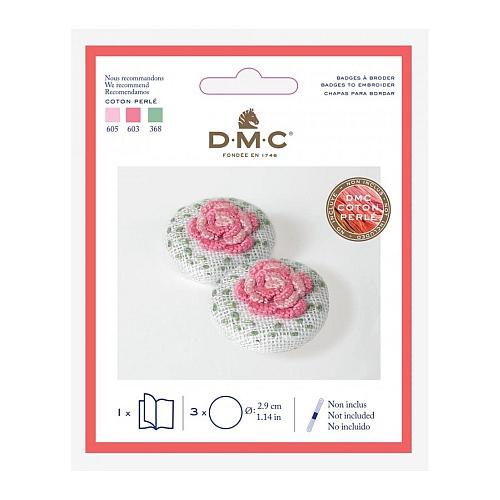 DMC Button klein d=2,9 cm zum Sticken oder Klöppeln - Klöppelwerkstatt, Ovaler Anhänger zum Besticken in traditioneller Stickerei. Auch für Klöppelspitze geeignet, klöppeln, sticken