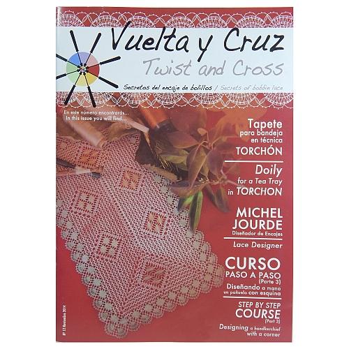 Vuelta Y Cruz - Twist and Cross – Heft Nr. 12, spanische Klöppel-Zeitschrift, in der Klöppelwerkstatt erhältlich, Spitzen-Techniken, klöppeln, Klöppelbriefe mit Abbildungen und technischen Zeichnungen.