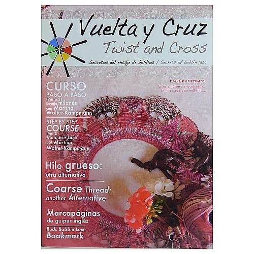 Vuelta Y Cruz - Twist and Cross – Heft Nr. 14, spanische Klöppel-Zeitschrift, in der Klöppelwerkstatt erhältlich, Spitzen-Techniken, klöppeln, Klöppelbriefe mit Abbildungen und technischen Zeichnungen.