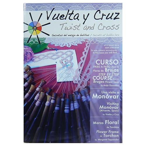 Vuelta Y Cruz - Twist and Cross – Heft Nr. 17, spanische Klöppel-Zeitschrift, in der Klöppelwerkstatt erhältlich, Spitzen-Techniken, klöppeln, Klöppelbriefe mit Abbildungen und technischen Zeichnungen.