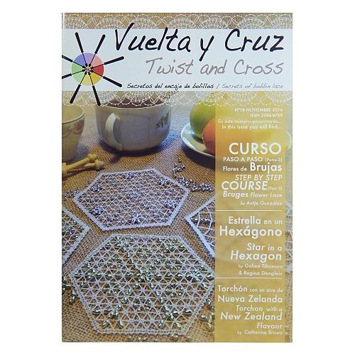 Vuelta Y Cruz - Twist and Cross – Heft Nr. 18, spanische Klöppel-Zeitschrift, in der Klöppelwerkstatt erhältlich, Spitzen-Techniken, klöppeln, Klöppelbriefe mit Abbildungen und technischen Zeichnungen.