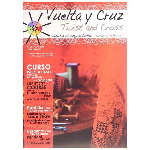 Vuelta Y Cruz - Twist and Cross – Heft Nr. 23, spanische Klöppel-Zeitschrift, in der Klöppelwerkstatt erhältlich, Spitzen-Techniken, klöppeln, Klöppelbriefe mit Abbildungen und technischen Zeichnungen.