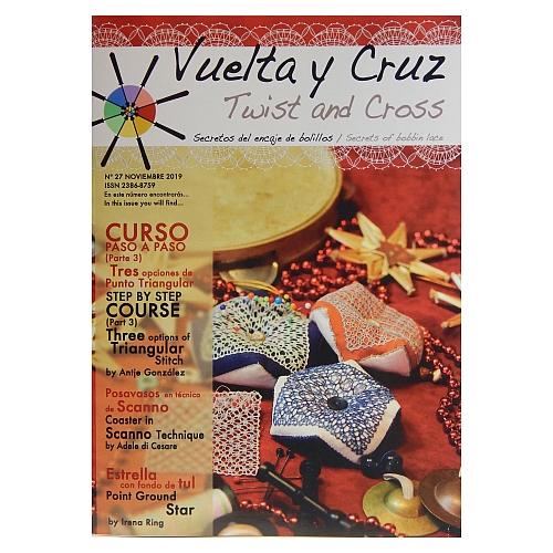 Vuelta Y Cruz - Twist and Cross – Heft Nr. 27, spanische Klöppel-Zeitschrift, in der Klöppelwerkstatt erhältlich, Spitzen-Techniken, klöppeln, Klöppelbriefe mit Abbildungen und technischen Zeichnungen.
