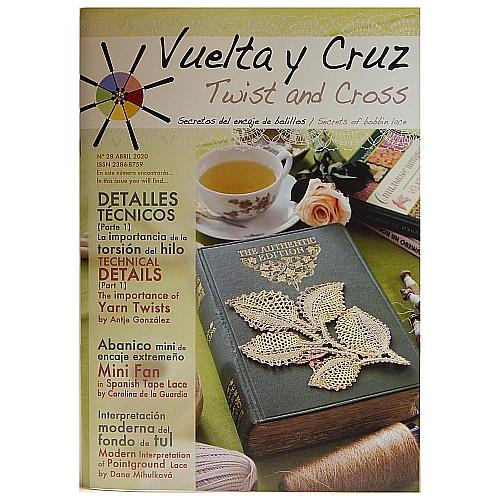 Vuelta Y Cruz - Twist and Cross – Heft Nr. 28, spanische Klöppel-Zeitschrift, in der Klöppelwerkstatt erhältlich, Spitzen-Techniken, klöppeln, Klöppelbriefe mit Abbildungen und technischen Zeichnungen.