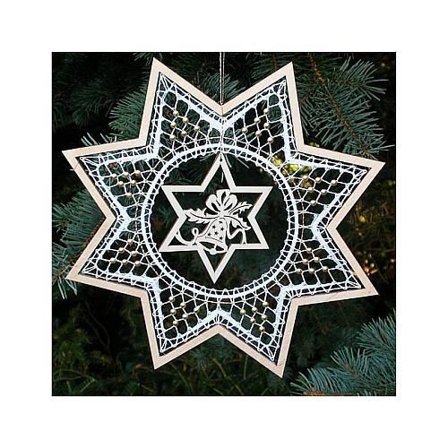 Weihnachtsanhänger Stern 1, Set, Inhalt: Holzrahmen, Stern mit Motiv, Klöppelbrief, Perlen, Weihnachten Klöppeln in der Klöppelwerkstatt