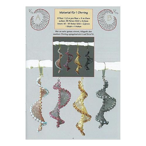 Schmuck mit Perlen, Autorin: Ulrike Voelcker, Innenseite mit geklöppelten Ohrringen 7 Ohrringe, 3 Haarspangen und 2 Broschen, in der Klöppelwerkstatt, klöppeln,