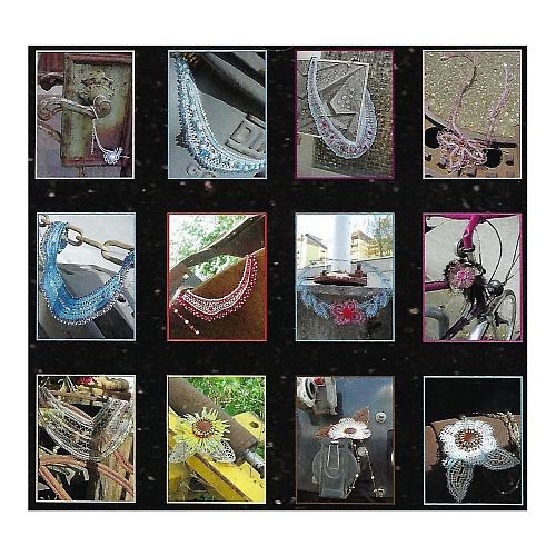 Fotokalender - Geklöppelter Schmuck ~ Klöppelwerkstatt, Immerwährender Kalender ohne Jahreszahl, 12 Schmuckstücke mit Klöppelbriefe, klöppeln, Bild mit 12 Schmuckstücken