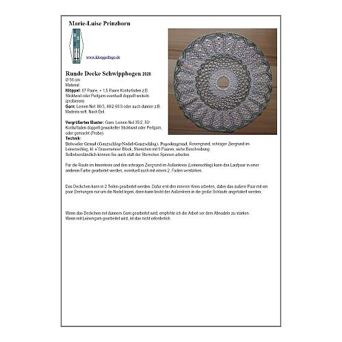 Klöppelbrief Runde Decke Schwippbogen ~ M.L. Prinzhorn, Köppelwerkstatt, Torchontechnik, geklöppelt m. Leinengarn oder Baumwolle, 2 Größen, klöppeln