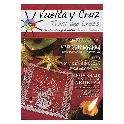 Vuelta Y Cruz - Twist and Cross – Heft Nr. 3, spanische Klöppel-Zeitschrift, in der Klöppelwerkstatt erhältlich, Spitzen-Techniken, klöppeln, Klöppelbriefe mit Abbildungen und technischen Zeichnungen.